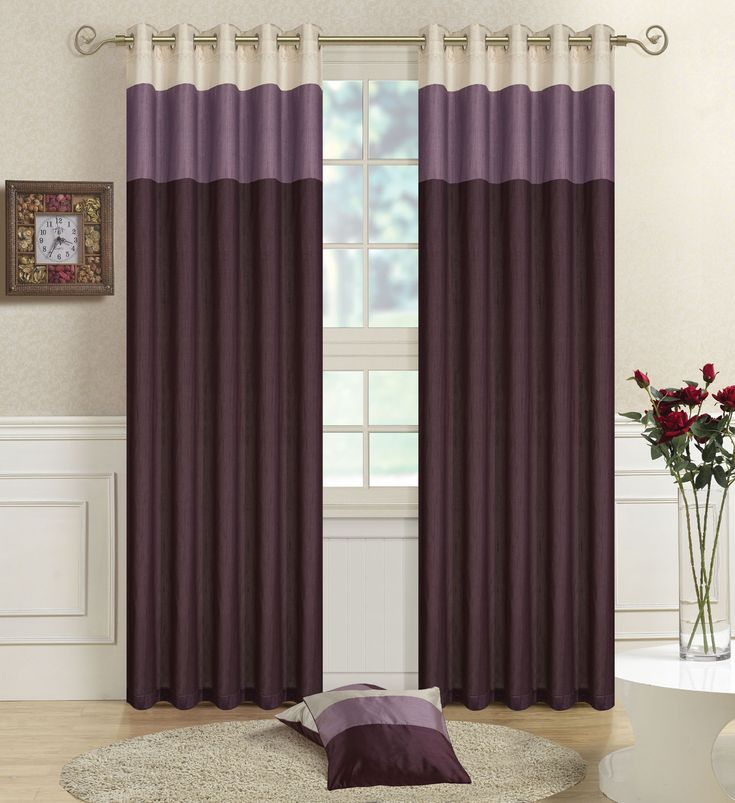 15 Beautiful Bedroom Designs With Purple Curtain : Exquisite Two Tone Purple  Bedroom Curtain With Glass Vase And Round Beige Rug Also Wood Laminate  Floor In ...