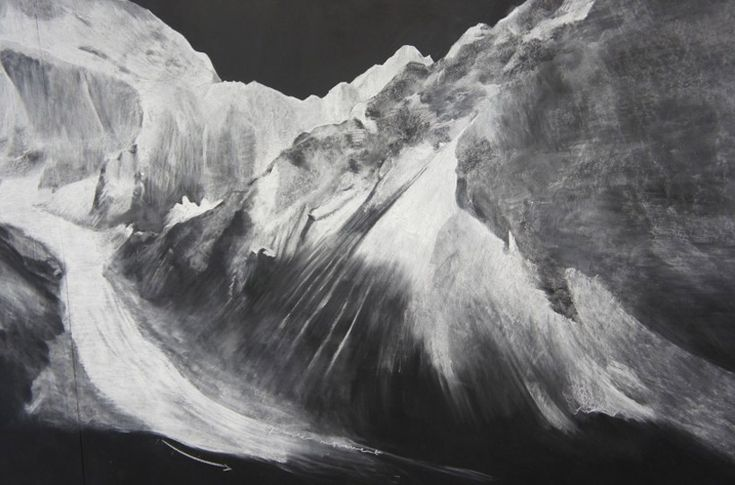 Chalk-on-blackboard depictions of Afghanistan mountains by Tacita Dean
