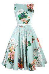 Vintage Jewel Neck Floral Print Sleeveless Belted A-Line Dress For Women (AZURE,L) | Sammydress.com Mobile
