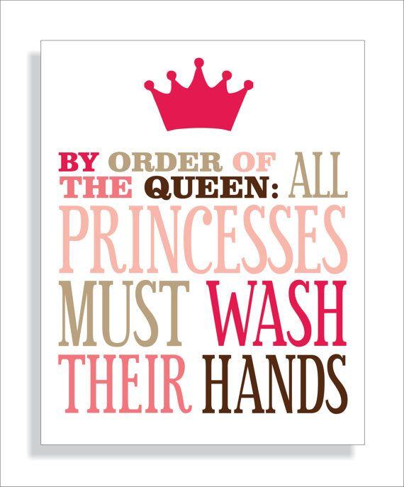 Princess Bathroom Art Print, Girls bathroom wall decor- Wash Your Hands-8x10 Kids Wall Art Typography via Etsy