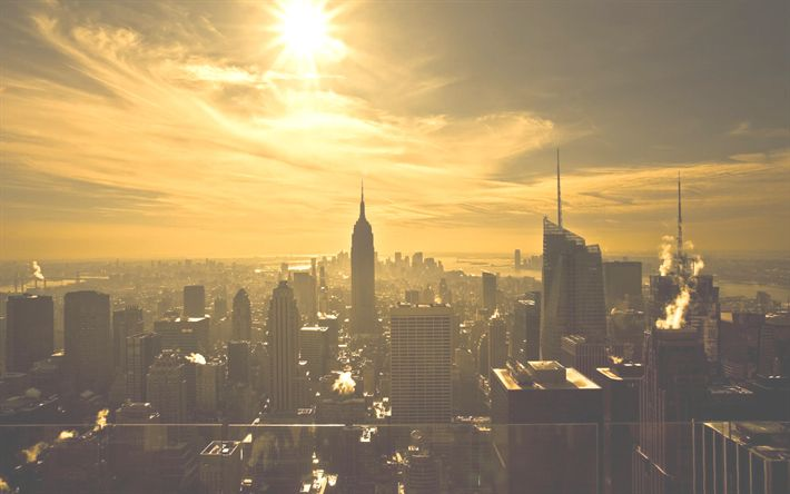 Download wallpapers Empire State Building, New York, USA, winter, morning, sunrise, skyscrapers, cityscape