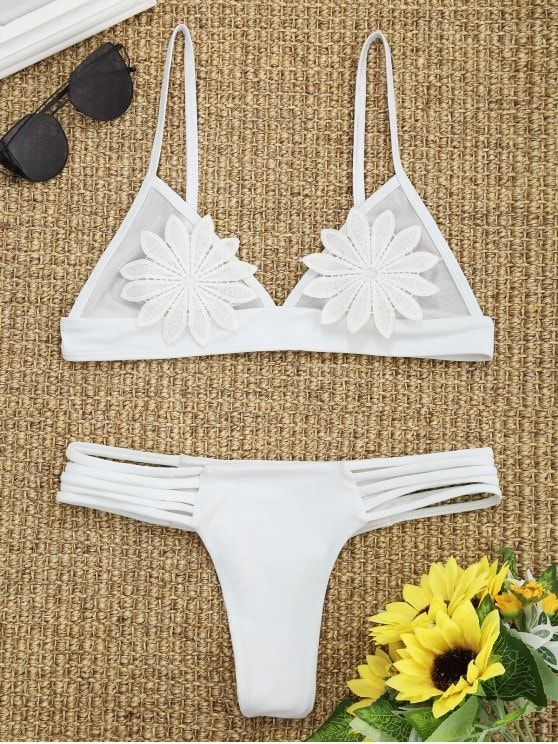 7657859fc0 Up to 80% OFF! Mesh Floral Applique Thong Bikini Set. #Zaful #Swimwear # Bikinis zaful,zaful outfits,zaful dresses,spring outfits,summer  dresses,Valentine's ...