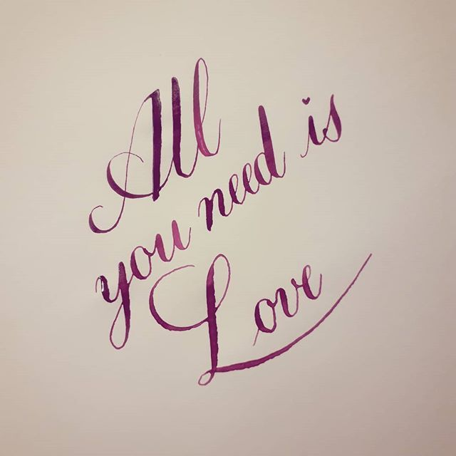 All you need is love  30 Days of Calligraphy Challenge Day 16: something love related  #calligraphy #copperplate #lettering #allyouneedislove #lettering #oblique