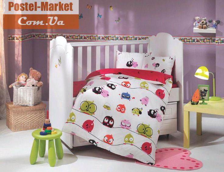 Постельное белье HOBBY Sateen Crazy Birds красное в кроватку. Купить в интернет магазине Постель Маркет (Киев, Украина)
