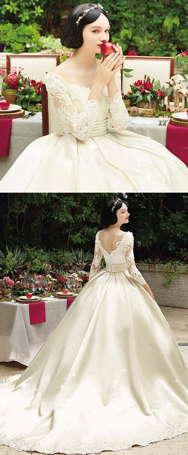 Elegant Tulle & SatinScoop Neckline Ball Gown Wedding Dress With Beaded Lace Appliques