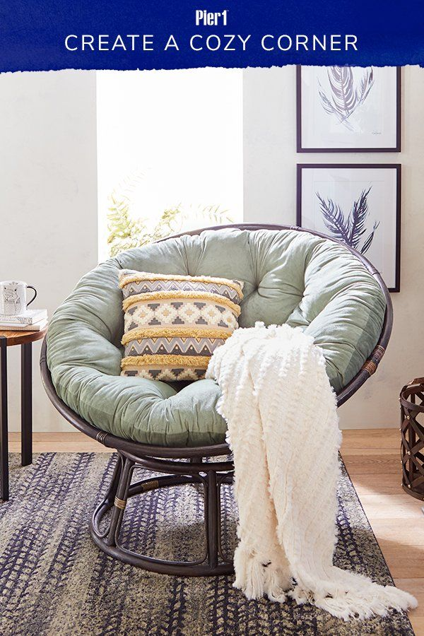 Our Iconic Papasan Is A Staple Of Cozy Corners Everywhere Mix And Match Cushions And Bases T Papasan Chair Living Room Comfy Bedroom Chair Papasan Chair Frame