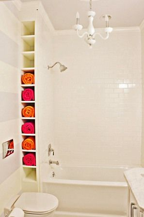 Towel storage in the bathroom.