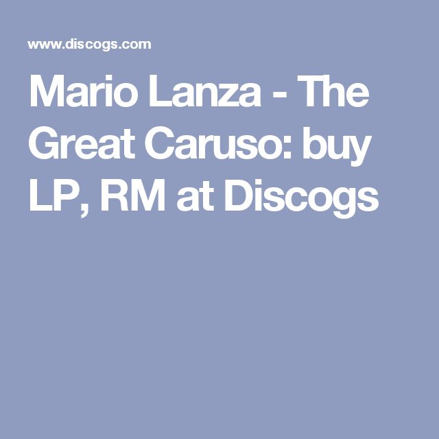 Mario Lanza - The Great Caruso: buy LP, RM at Discogs