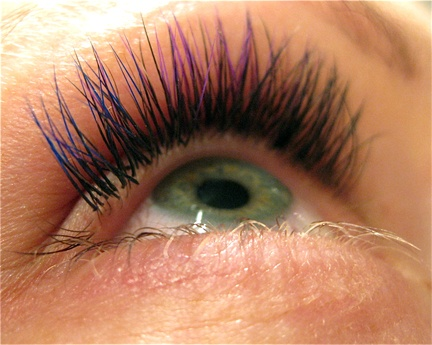 Blue and purple silk eyelash extensions by Wink Beauty Lounge, Vancouver, BC