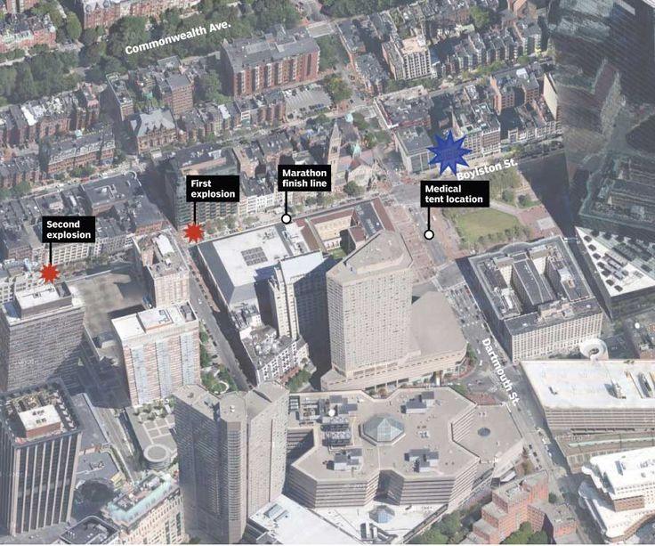 boston marathon bombing | Boston Marathon bombings: Updated map of the scene