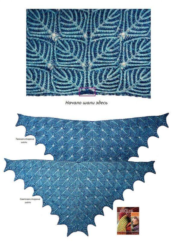 Двусторонняя двухцветная шаль вяжется из нитей двух цветов.Описание технологии возможно кому-нибудь пригодится...