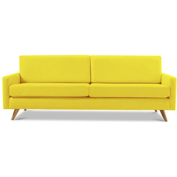Mid Century Leather Sofa ($3,839) ❤ Liked On Polyvore Featuring Home,  Furniture,