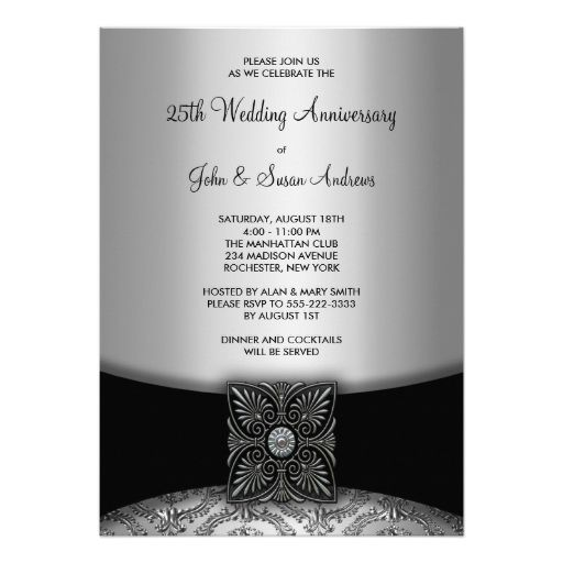 651 best 25th anniversary party invitations images on pinterest damask silver 25th anniversary party card stopboris Gallery