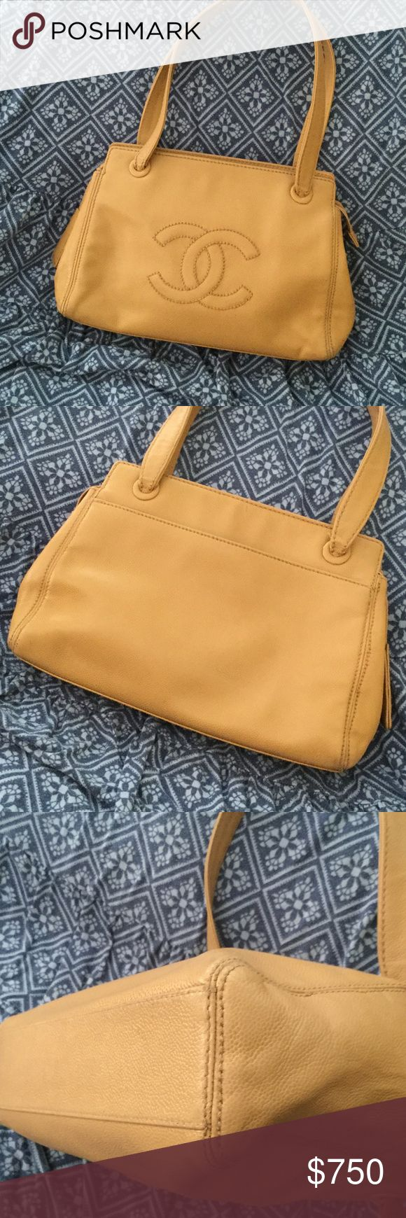 Authentic Chanel shoulder bag🎉SALE🎉 Beautiful tan leather Chanel bag. Very good preowned condition. one large outside pocket and one large inside zipper pocket.  main compartment has zip closure. Minor scuffing on corners as seen in picture and under shoulder straps. Really comfortable and perfect size and shoulder strap drop of 9 to 10 inches for every day use. From a smoke free and pet free home. No holds, no trades CHANEL Bags Shoulder Bags