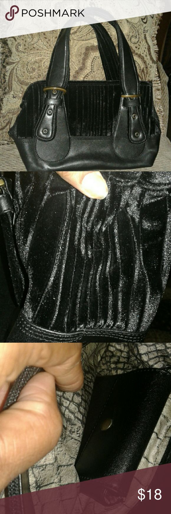 """Black Velvet and Vinyl Satchel Nice bag with velvet top and under handles. Brass colored buckles. Footed. Inside zippered pocket and vinyl pouch. Centered zippered section. Appx 8 x 11 x 5 with 7"""" drop. Slight tarnish on buckles see pic. Otherwise in great conditin. No stains no tears. MX Bags Satchels"""