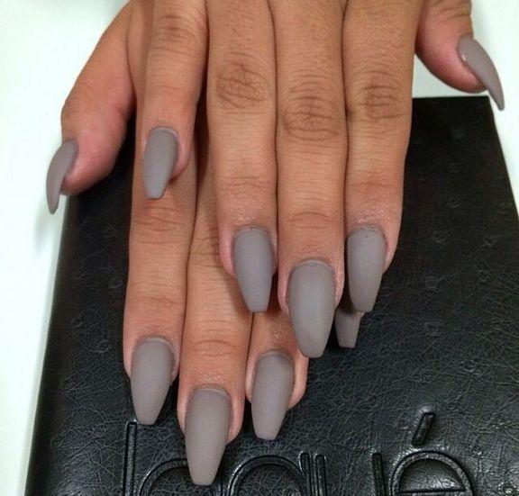 29 Ideas Gray Nails Matte Coffin Short 81 Grey Matte Nails Gray Nails Trendy Nails