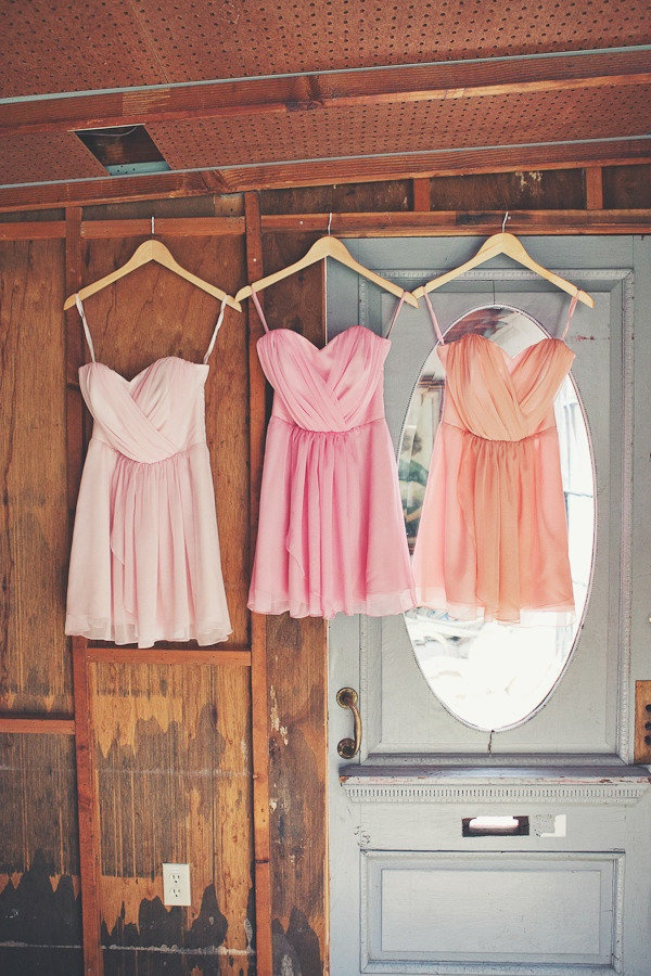 This kind of flowy, short dress would be perfect for a bay wedding. They're elegant but have that beach-y feel to them. However, they'd need to be in various shades of the neutrals and pale blue color family!