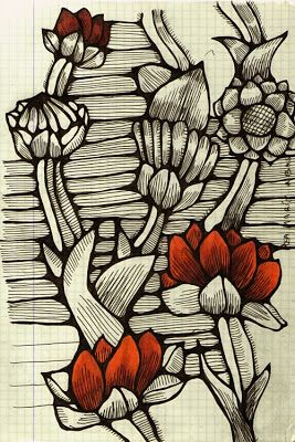 SketchBook. Textile Design, Illustration, Sport mode: Sketch with flowers. Flowered textile design