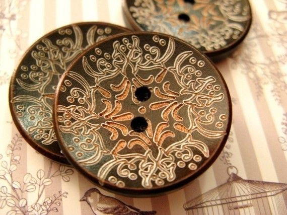 Brown Wood Buttons  8 pieces of Japanese Style Brown Concave