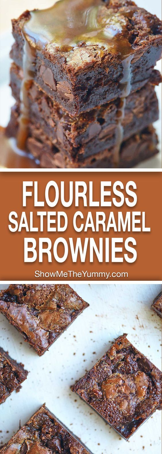 These flourless salted caramel brownies are gluten free, rich, fudgy, filled with salted caramel, and can be made ahead of time! showmetheyummy.com #brownies #caramel