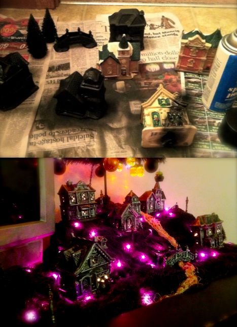 $10 halloween village! Made from ceramic christmas houses from the dollar store...made from some spray paint and silver paint, creepy lights, and a little bit of creativity.