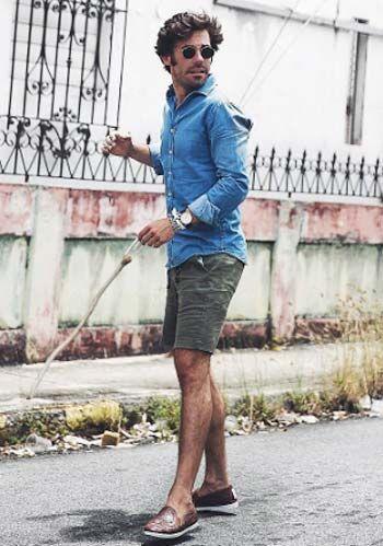 【夏】デニムシャツ×カーキショーツ×茶スリッポンの着こなし(メンズ) | Italy Web