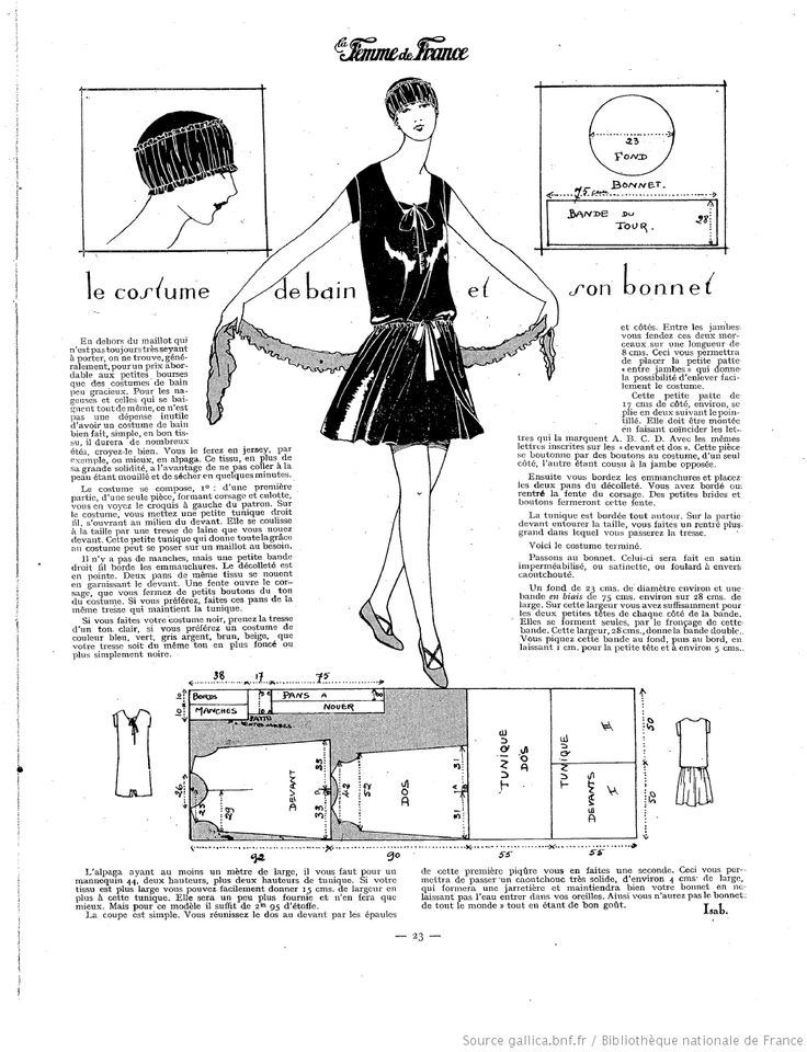 Costume de bain et bonnet (La Femme de France 27/06/1926)                                                                                                                                                     Plus
