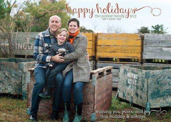 Peace and Joy Happy Holidays Family Photo by TheFunkyOlive on Etsy