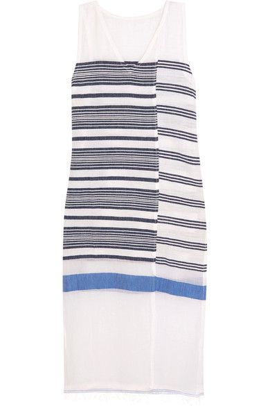 LemLem - Aziza Striped Cotton-blend Gauze Midi Dress - Navy -