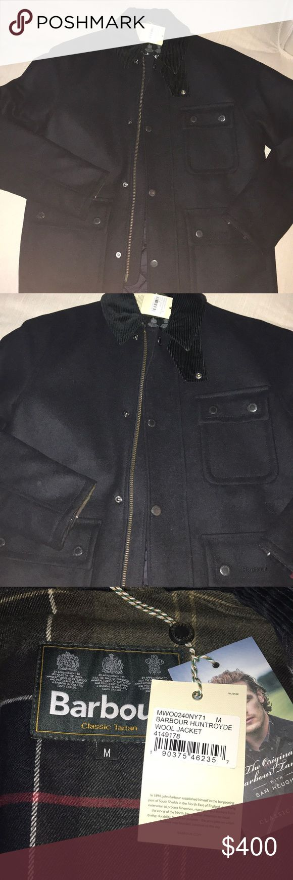 Mens Barbour huntrodyne wool coat size M NWT Barbour Huntrodyne mens insulate wool coat size medium. Navy blue material with Barbour plaid interior Barbour Jackets & Coats Pea Coats
