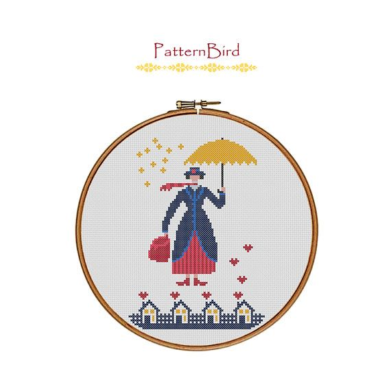 Mary Poppins. Instant Download PDF Cross Stitch by PatternBird