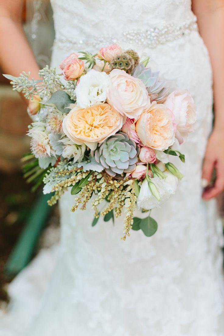 Flowers by Lace and Lilies - Succulent Bouquet - Peach Wedding - Juliet Garden Rose - Colorado Wedding