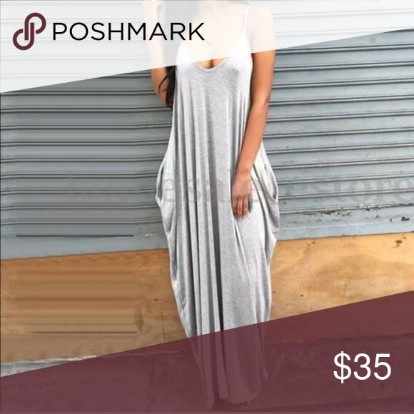 GORGEOUS GRAY BOHEMIAN MAXI! GRAY stylish log MAXI dress for spring, summer or all year round vacations!! Be the hottest one at the party!!! Get yours while it's in stock. LIMITED STOCK Dresses Maxi