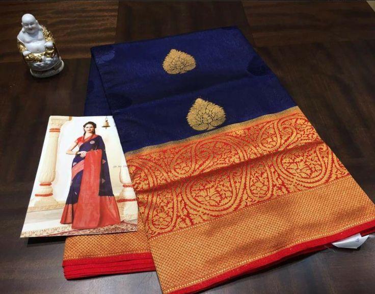 Navy blue Kanchipuram Spun Silk Woven Saree  #unbranded #Sareesari