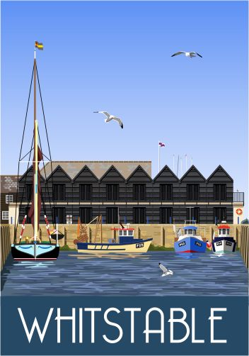 Whitstable Harbour. Railway Poster style Illustration by www.whiteonesugar.co.uk Drawn by Nigel Wallace of White One Sugar