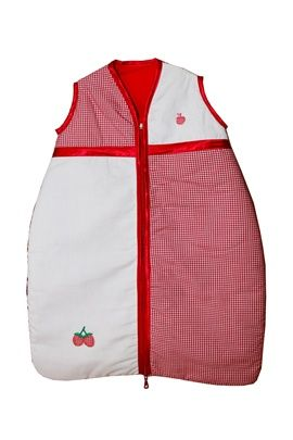 Very pretty red gingham design baby sleeping bag. Sizes 0-36 months. Satin trim to arms, neck and zip edge. Two layers of soft cotton with cosy inner batting. Central zip from bottom to top for ease of changing. Delivery: Up to 2 weeks if not in stock and needs to be made.