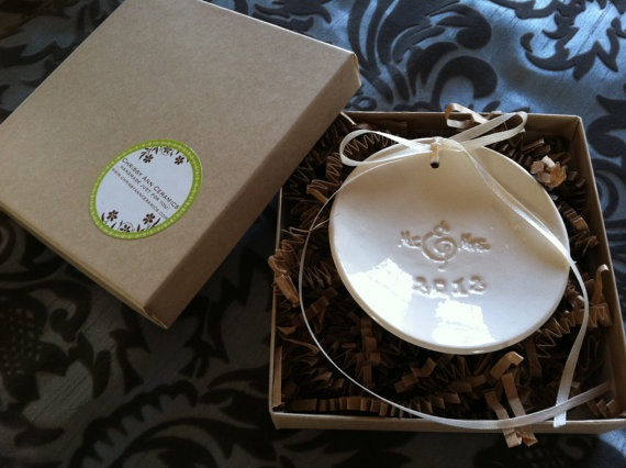 2012 Mr and Mrs Ring bearer dish or ornament by ChrissyAnnCeramics, $14.00