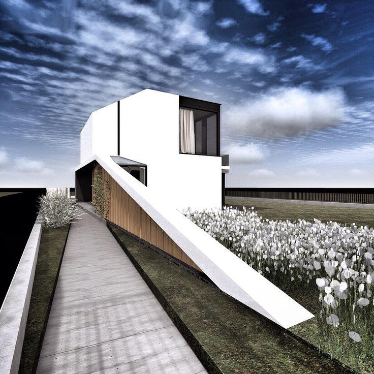 nowoczesny dom jednorodzinny, duże przeszklenia, geometria, modernizm