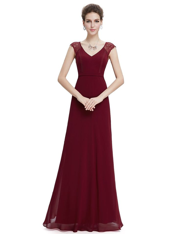 Ever Pretty Robe de Soiree Longue Elegante Manches Courtes Col en Peche 08690: Amazon.fr: Vêtements et accessoires