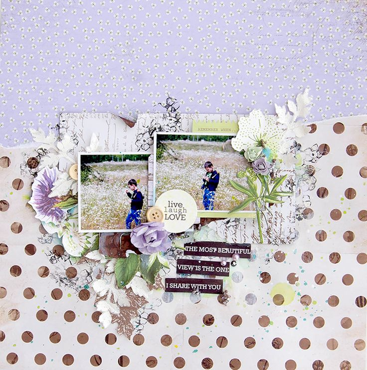 """Live Laugh Love"" layout by Alena Grinchuk for Kaisercraft using 'Botanica' Collection - Wendy Schultz ~ Scrapbook Pages 3."