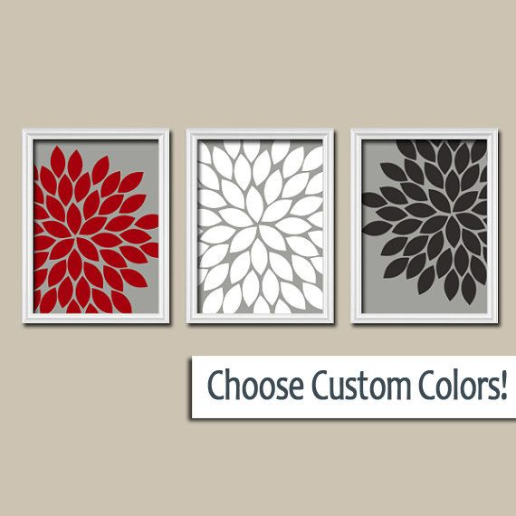 Red Black And Gray Wall Decor : Red black gray wall art canvas or prints bedroom