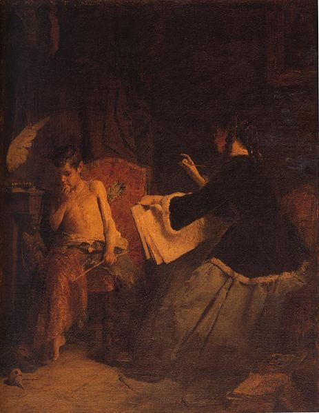 "''Eros and the Painter '' by Nikolaos Gyzis , 1842 –1901, was considered one of Greece's most important 19th-century painters. He was most famous for his work Eros and the Painter, his first genre painting. It was auctioned in May 2006 at Bonhams in London, being last exhibited in Greece in 1928. He was the major representative of the so-called ""Munich School"", the major 19th-century Greek art movement."