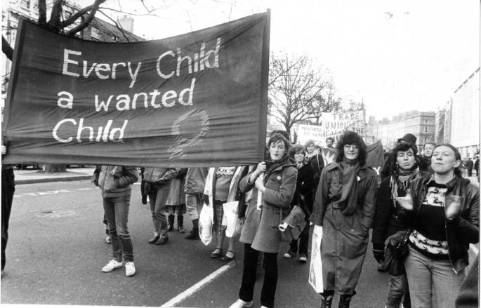 1982: Anti-amendment march in Dublin.  Photographer: Tom Lawlor/The Irish Times