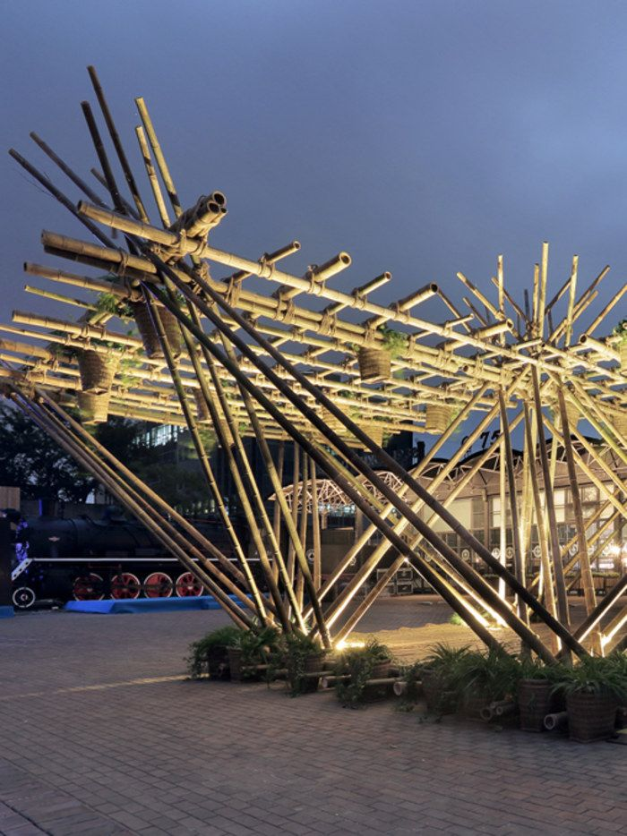 Penda's bamboo structure prototype at Beijing Design Week 2015.