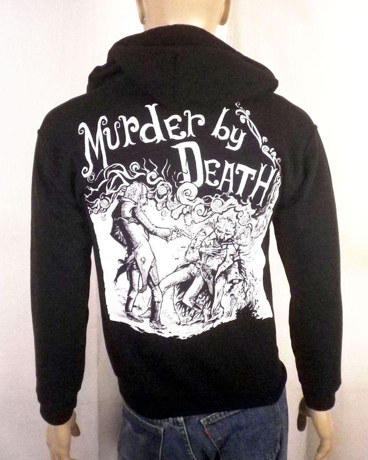 euc Murder by Death black Zip Front Hoodie Sweatshirt Jacket concert tour SZ S