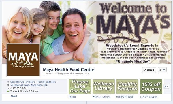 Maya Health Food Centre Facebook Customization