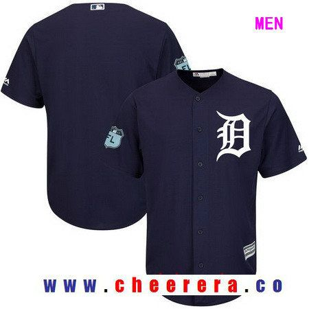 Men's Detroit Tigers Majestic Navy Blue 2017 Spring Training Cool Base Stitched MLB Custom Jersey