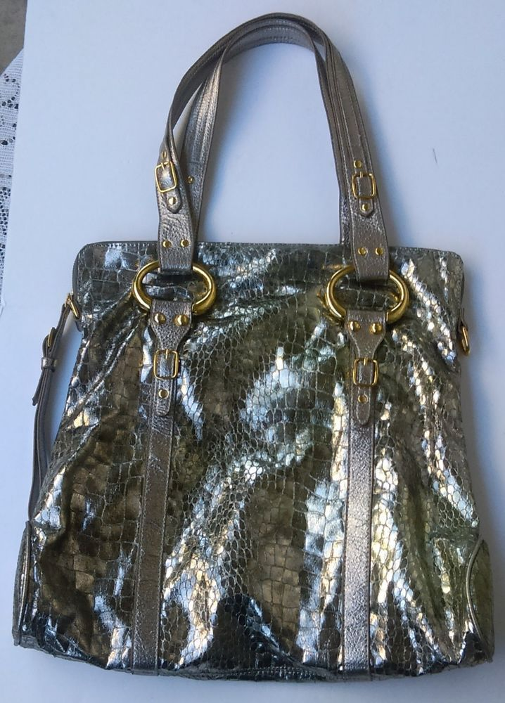 54a98d1431c4 CMZ Women s Silver Faux Snakeskin Handbag Purse