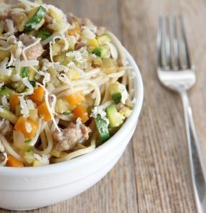 Summer Veggies, Saffron, Sausage & Brown Rice Spaghetti | The Whole Grains Council