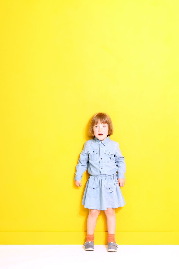 Violette wearing BLAISE, the chambray shirt, and BEATRICE, the chambray skirt!